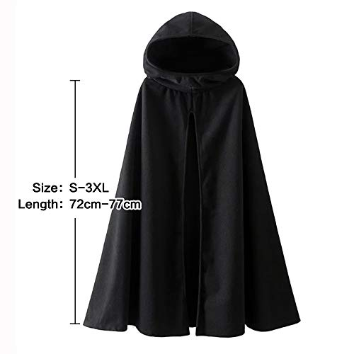 Fantasy Closet Womens Leisure Hooded Split Front Poncho Cape Cloak Trench Coat Outwear Halloween Outfit Black Size XXX-Large