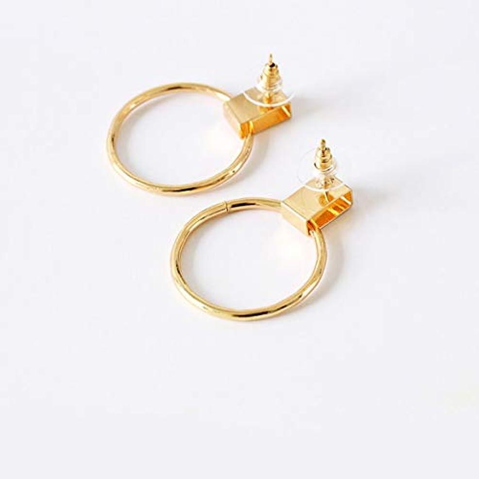 ブリード案件速報17040369ファッションシンプルなスタイルの幾何学的な誇張ビッグサークル合金耳スタッドピアスメンズ銅耳リング-ゴールド