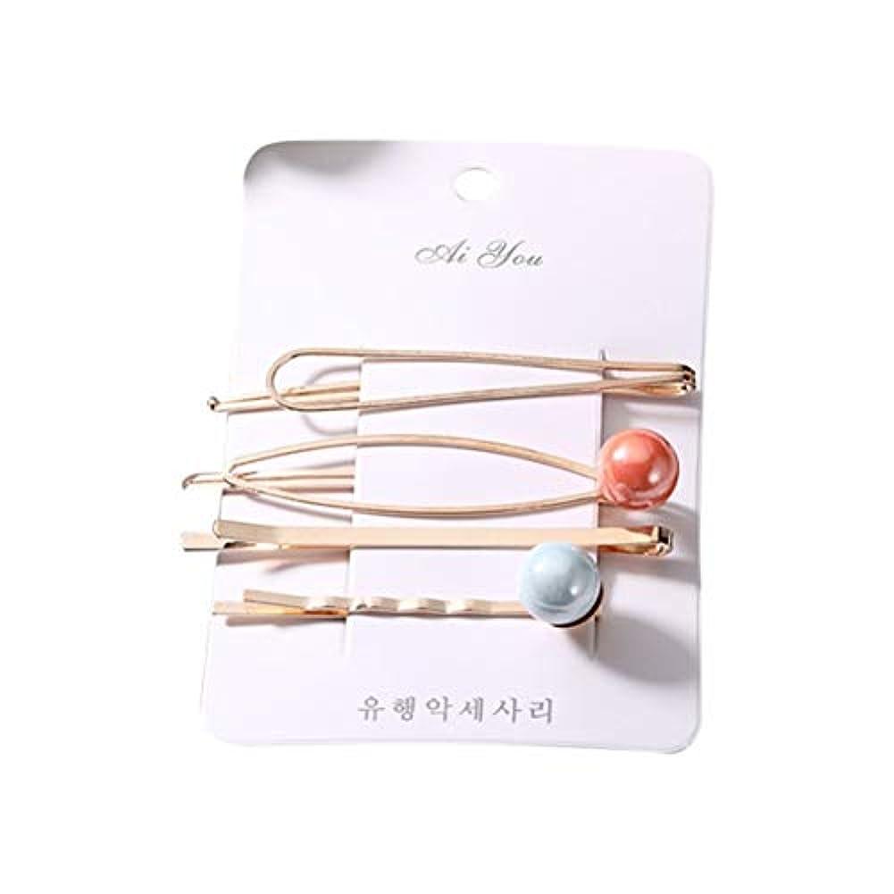 信条蒸発する航空便Intercorey韓国のヘアアクセサリーガールスウィートパールメタルヘアピンの組み合わせシンプルなワードクリップサイドクリップヘアピン前髪クリップ頭飾り