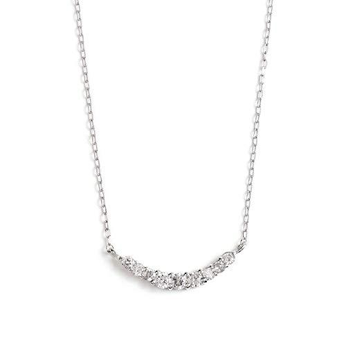 ネックレス レディース ダイヤモンド PLUSTER (天然ダイヤ 0.1カラット) K10 ホワイトゴールド ラインネックレス チェーン 40cm [ギフトボックスセット]