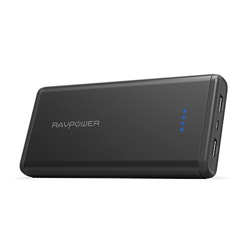 RAVPower 20000mAh モバイルバッテリー ポータブル充電器 急速充電 iSmart2.0機能(2A入力、 2ポート 、2.4A出力) iPhone X/Xs / Xs Max/XR/ iPhone 8 / iPad/Android 等対応 RP-PB006 ブラック