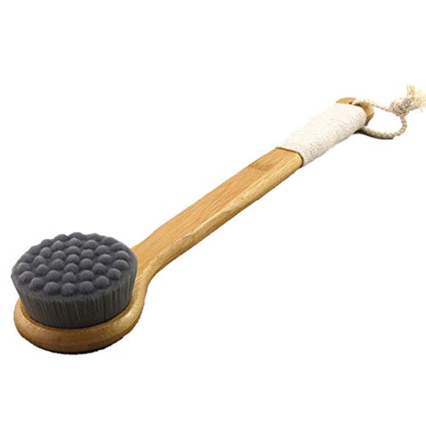 [RADISSY] ボディブラシ 竹製 ロング マイクロファイバー 超極細毛 毛穴 汚れ すっきり (ブラック)