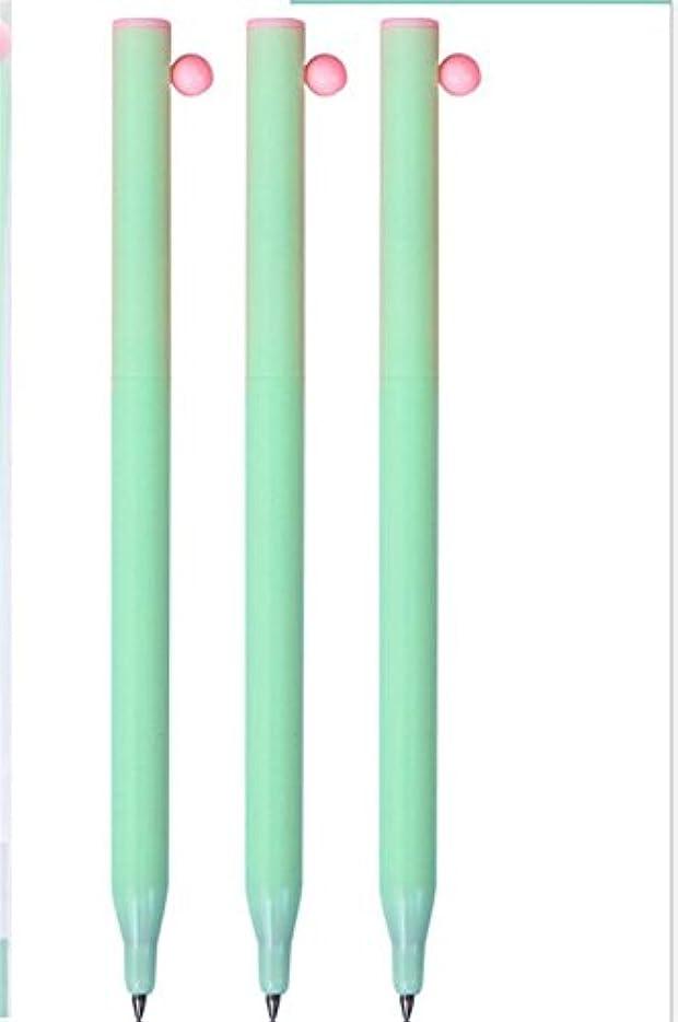 とまり木一方、ビザHuaQingPiJu-JP 4本/セットプレスゲルペンキットスウィートサインペン学生ステーショナリー用品ブラックインク(グリーン)