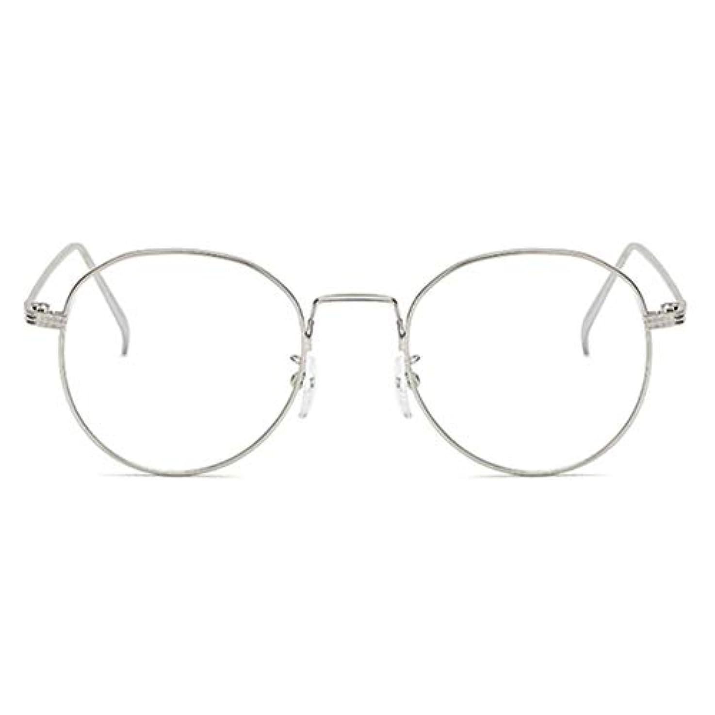 共感する電子レンジフィクション丸型アンチブルーライト男性女性メガネ軽量金属フレームプレーンミラーレンズアイウェアメガネ-シルバー