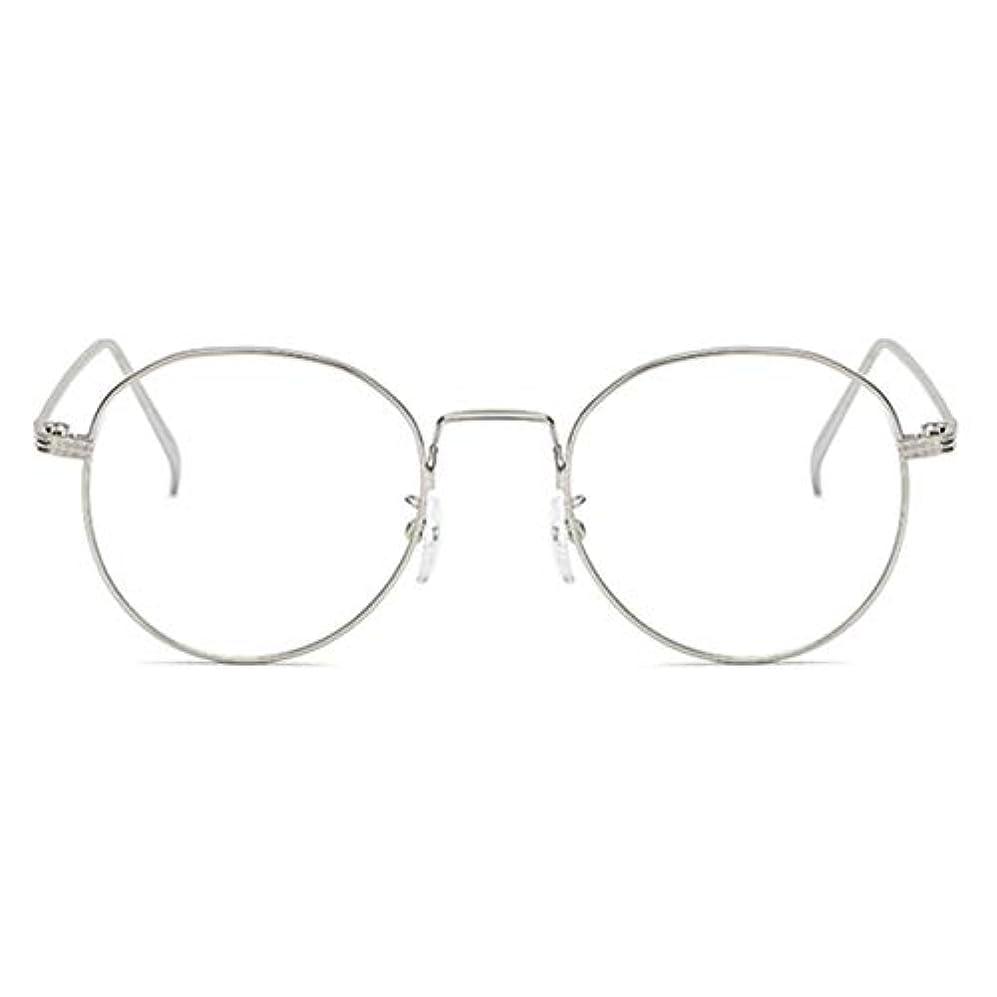 ファイナンス民間弾性丸型アンチブルーライト男性女性メガネ軽量金属フレームプレーンミラーレンズアイウェアメガネ-シルバー