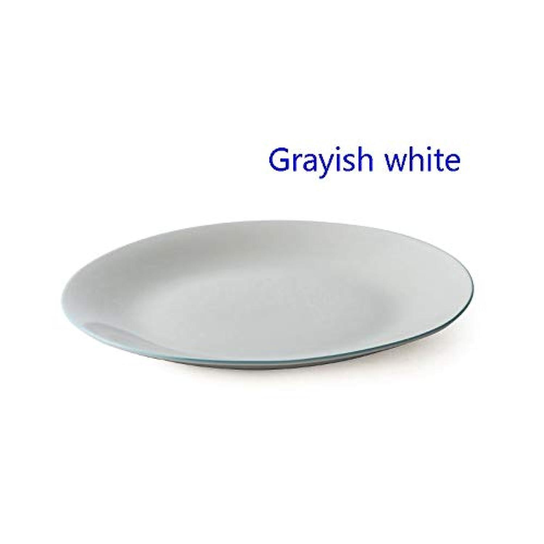 クリエイティブステーキプレート、セラミック食器、ホームウエスタンプレート、3色、11in (色 : Grayish white)