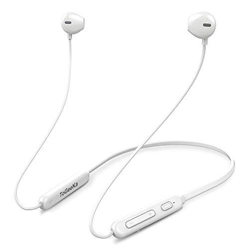 [進化版 IPX5完全防水] 白 Bluetooth イヤホン 低音重視 8.5時間連続再生 Hi-Fi 高音質 マグネット搭載 スポーツ用ワイヤレスイヤホン マイク内蔵 ハンズフリー通話 CVC6.0 ノイズキャンセリング搭載 ブルートゥース イヤホンiPhone、iPod、Android用 (白)