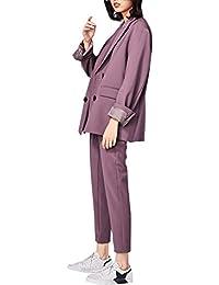スーツ 洋服 レディース パンツセット 上品 フォーマル カジュアル 大きいサイズ パープル