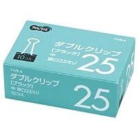 (まとめ) TANOSEE ダブルクリップ 中 口幅25mm ブラック 1箱(10個) 【×60セット】 [簡易パッケージ品]