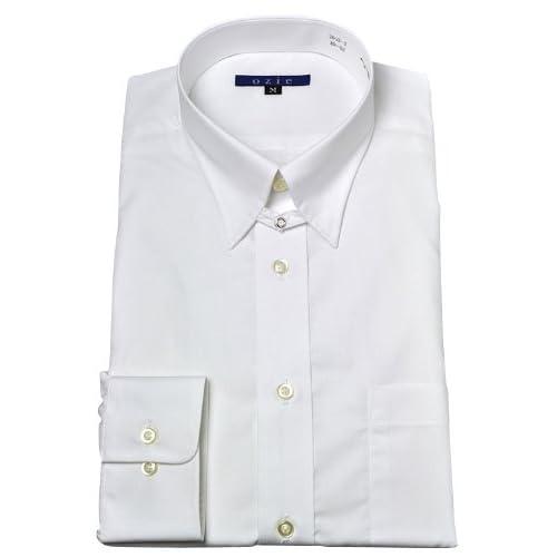 (オジエ) ozie〔00020094〕【ワイシャツ・カッターシャツ】レギュラーフィット・形態安定・タブカラー・日本製・無地 ホワイト白シャツ 4180