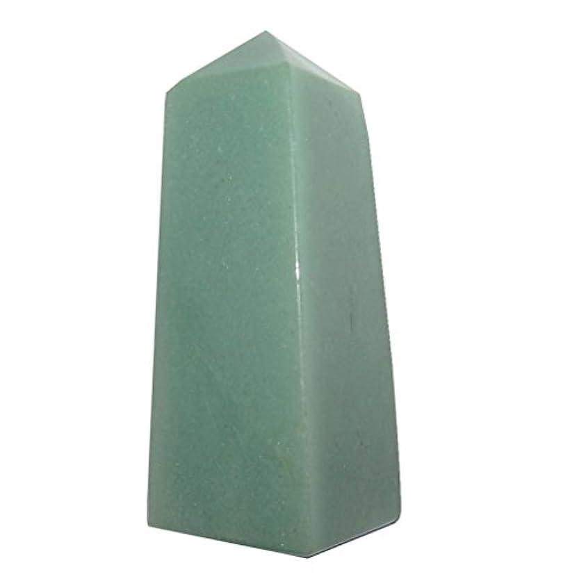 トライアスロンメディック率直なサテンクリスタルアベンチュリングリーンWandタワーCollectible 4 Sided Obelisk Money Wealth Abundance Attractionストーンc01 3.0 Inches グリーン...