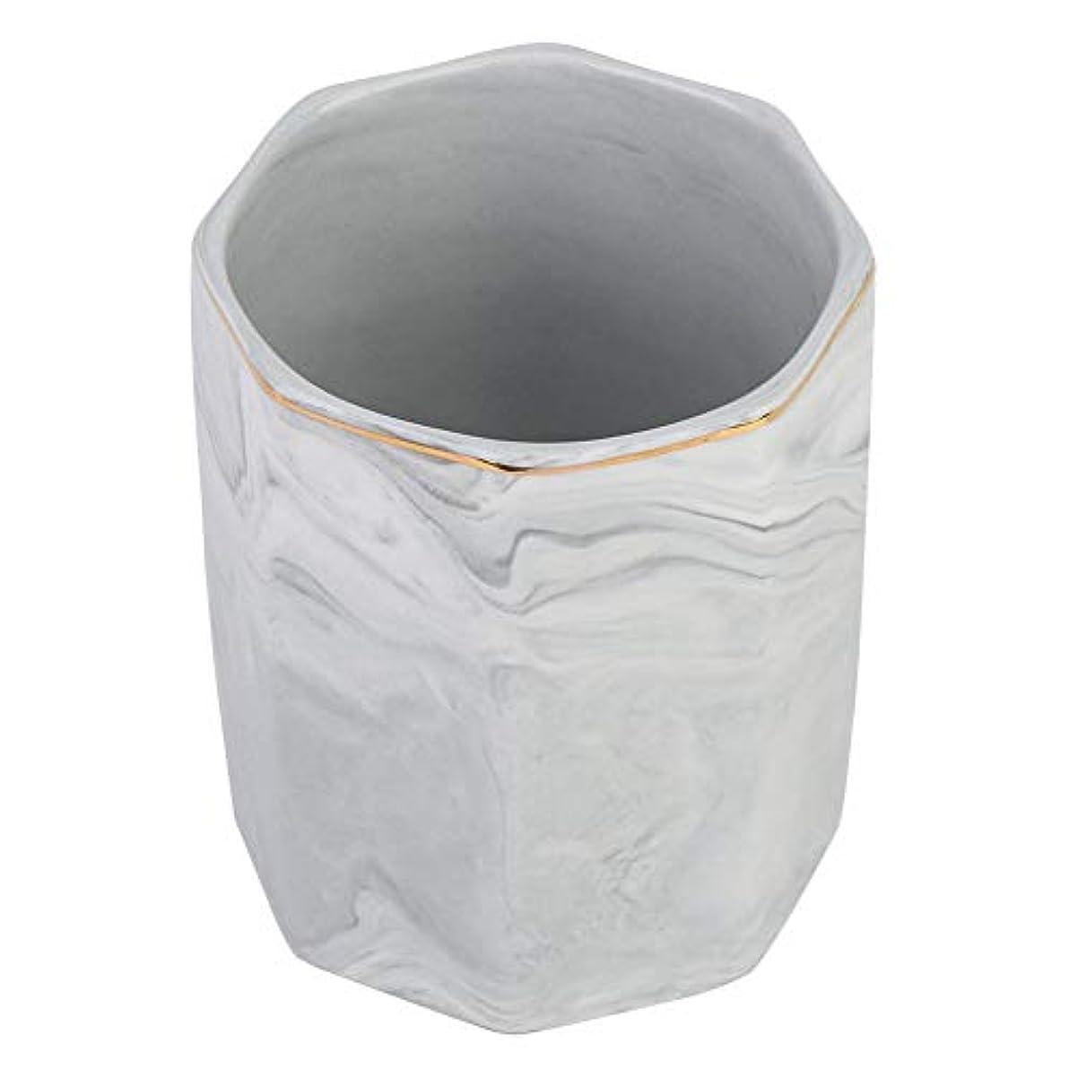 意図するくつろぐ株式化粧ブラシホルダー、ネイルアートツールホルダーとゴールドエッジの霜降り収納ケース(グレー)