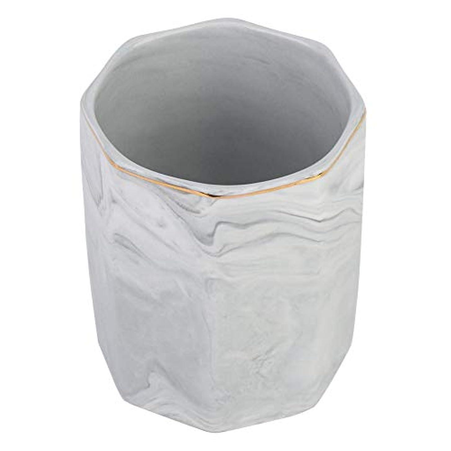 カートリッジ縫い目敬意化粧ブラシホルダー、ネイルアートツールホルダーとゴールドエッジの霜降り収納ケース(グレー)