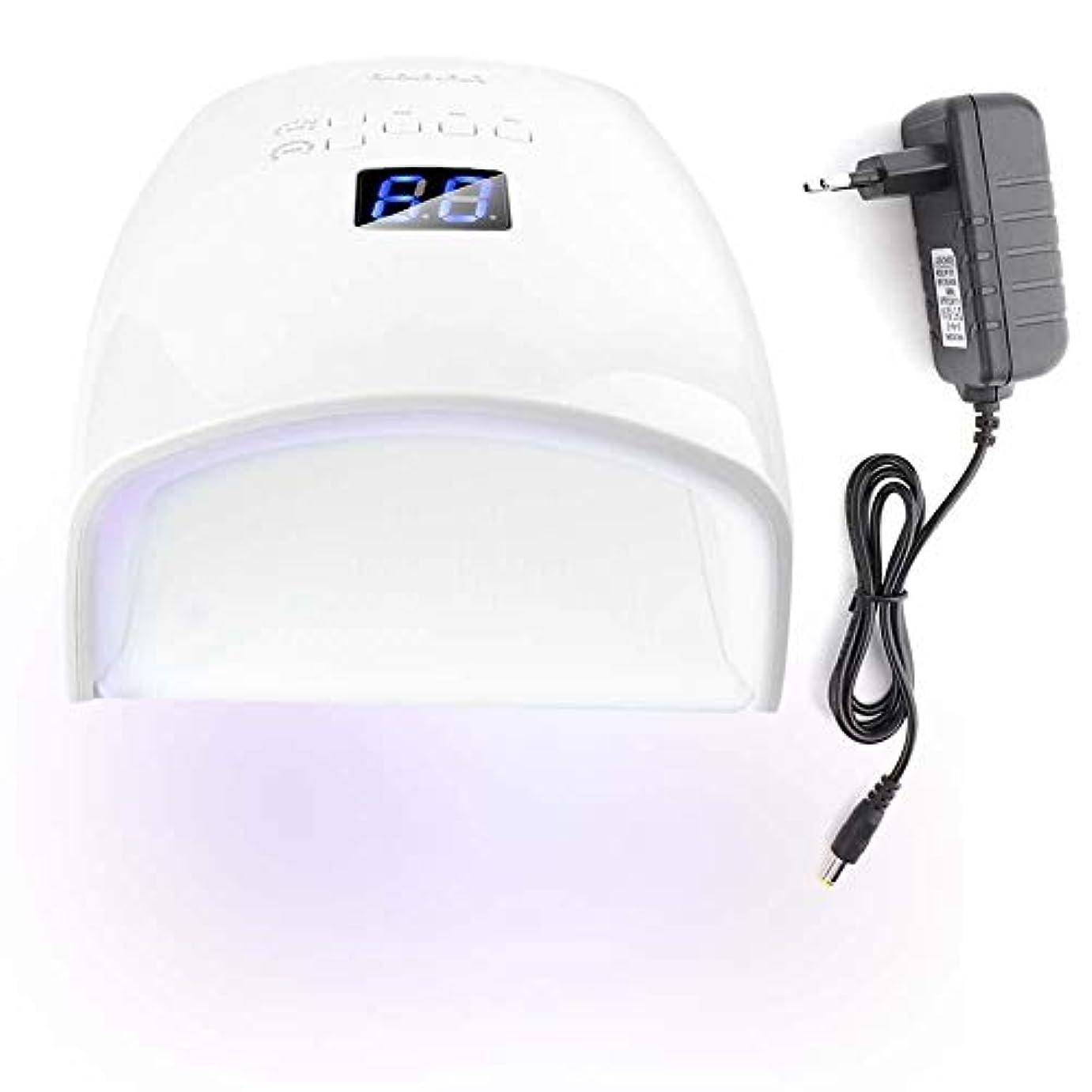 生命体地区損失48Wネイルドライヤー 30光 自動センサー 5タイマー付き UV LEDネイルランプ (ホワイト)