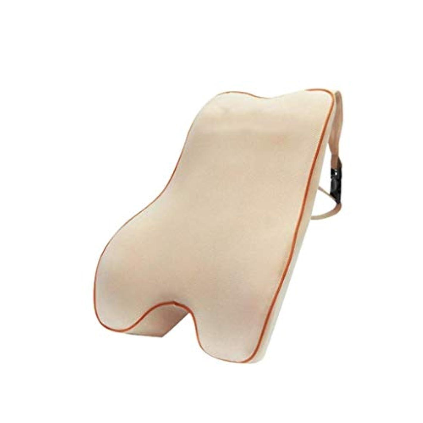 日光老人型腰椎枕 - 100%低反発腰椎クッション - ポータブル枕 - 整形外科用ウエストサポート枕 - 車のオフィスチェア - 長距離運転オフィスに適した腰痛緩和