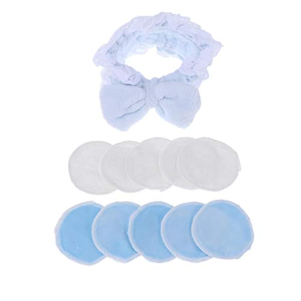 テセウス群集識別するLurrose 12pcs化粧除去パッド化粧品洗浄パッド洗顔ヘッドバンドと収納袋