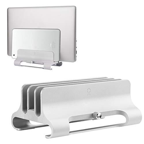 Becrowm ノートPCスタンド MacBookスタンド パソコンホルダー 縦置き 3台収納 調節可 アルミ製 iPad/laptop/タブレット適用(シルバー)