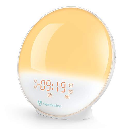 HeimVision 目覚まし時計 光 目覚ましライト スマート時計 Alexa/Google homeで制御 デジタル時計 スヌーズ機能 自然音 ホワイトノイズ 快眠グッズ FMラジオ 20段階調光
