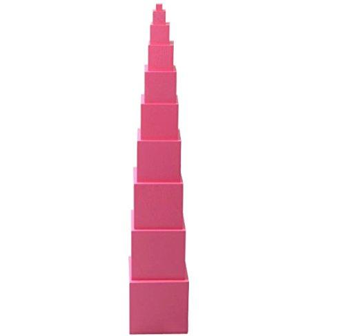 (Fun Market) モンテッソーリ 3~5歳 教育 ピンクタワー ブロック 知育玩具 (モンテッソーリ, ピンクタワー)