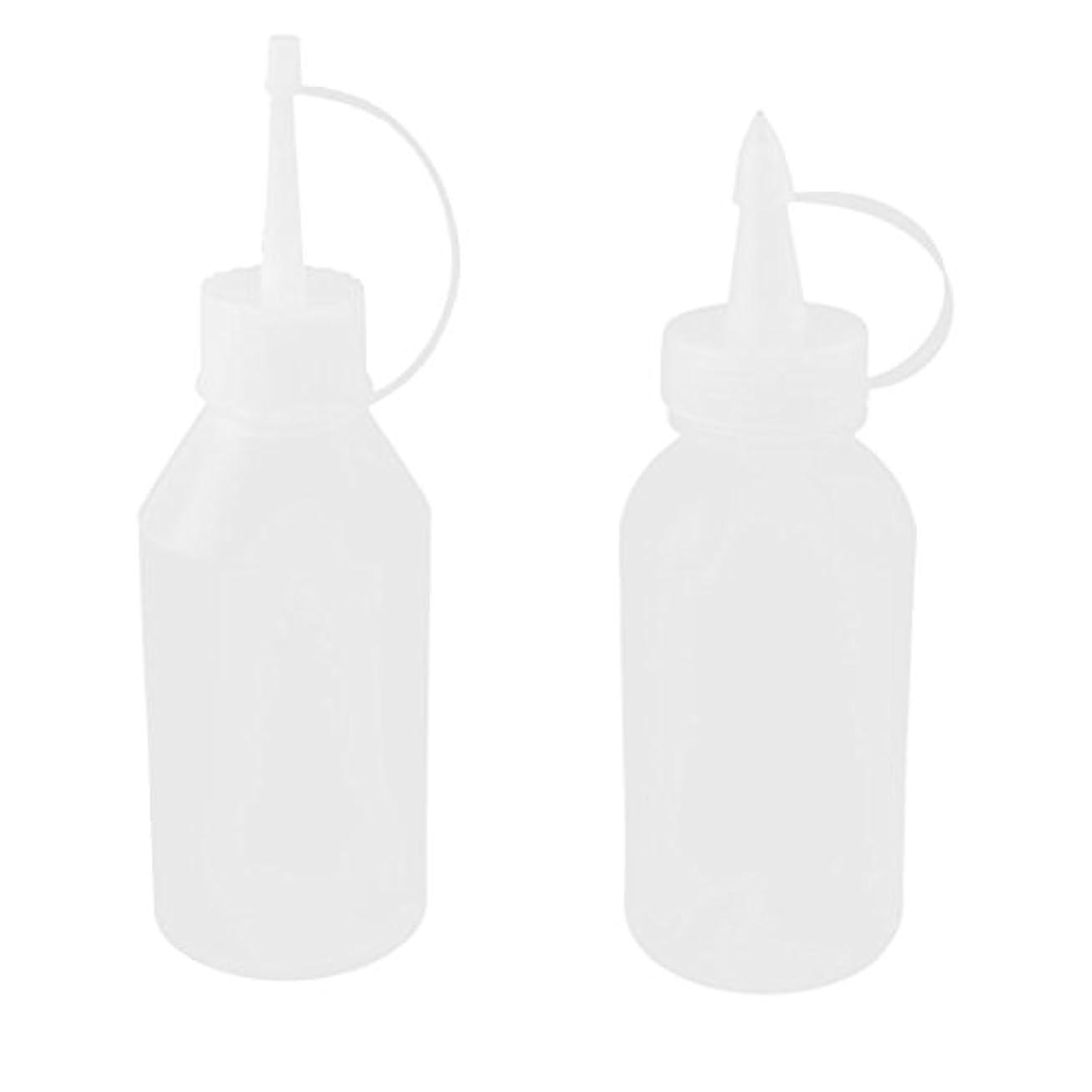 ひいきにする天のボーダーuxcell オイルボトル 油差し プラスチック 100ml ホワイト クリア 2個