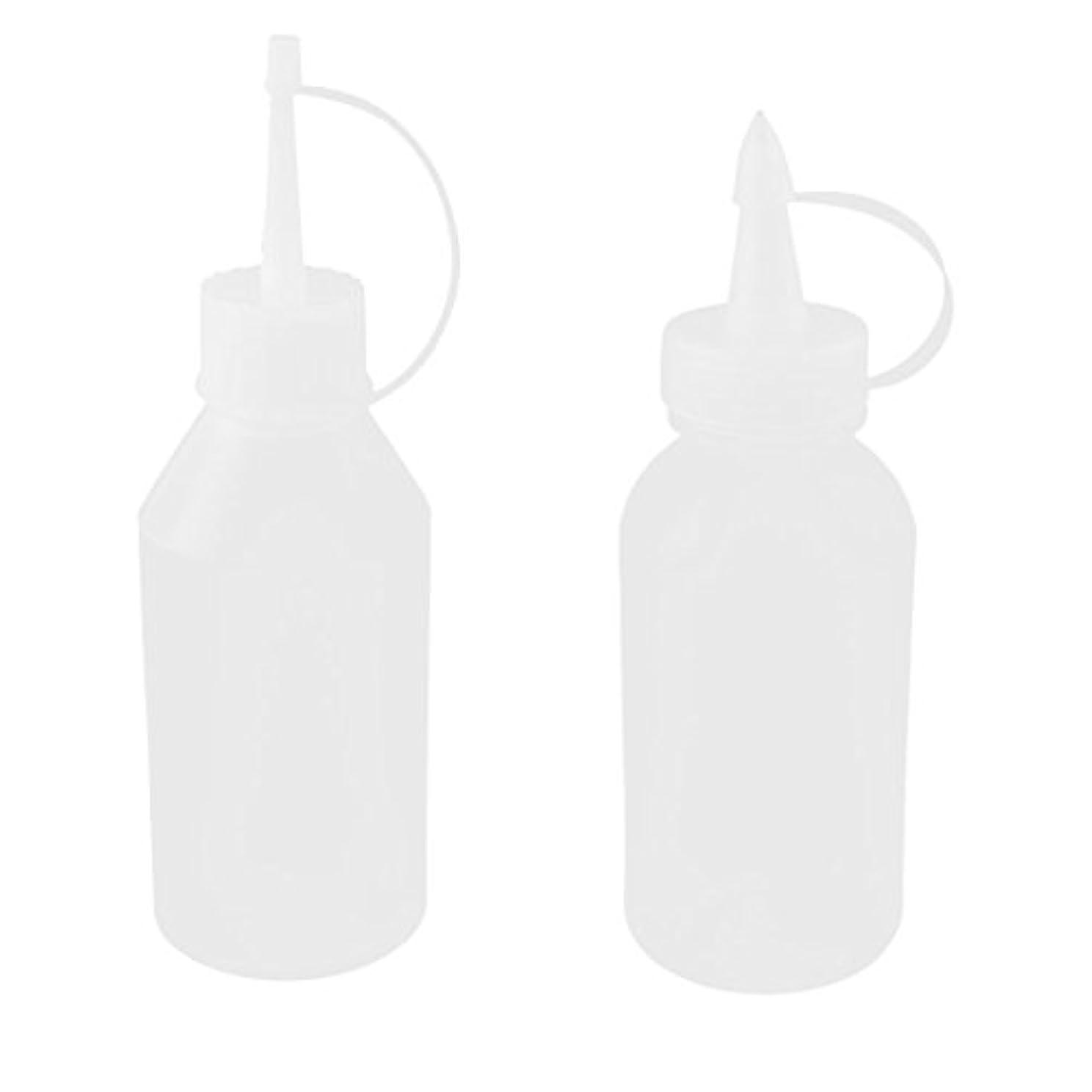 公使館書き出すナットuxcell オイルボトル 油差し プラスチック 100ml ホワイト クリア 2個