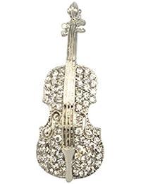 【ノーブランド品】クリスタル ラインストーン ノベルティ 光沢のある バイオリンデザイン ブローチピン 結婚式 宝石類