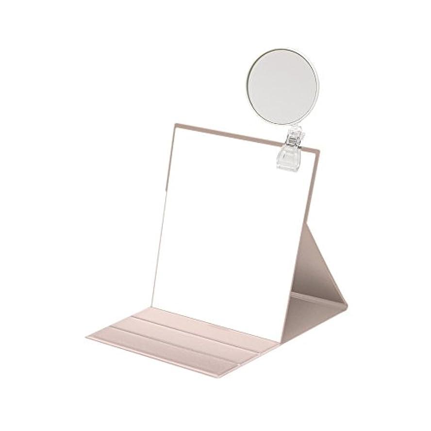 支援舌なボックスナピュアミラー 5倍拡大鏡付きプロモデル折立ナピュアミラーL ピンクゴールド HP-35×5