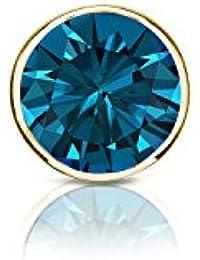 14 Kゴールドメンズbezel-setラウンドブルーダイヤモンドシングルスタッドイヤリング( 1 / 8 – 1 CT、ブルー、i1 - i2 ) screw-back