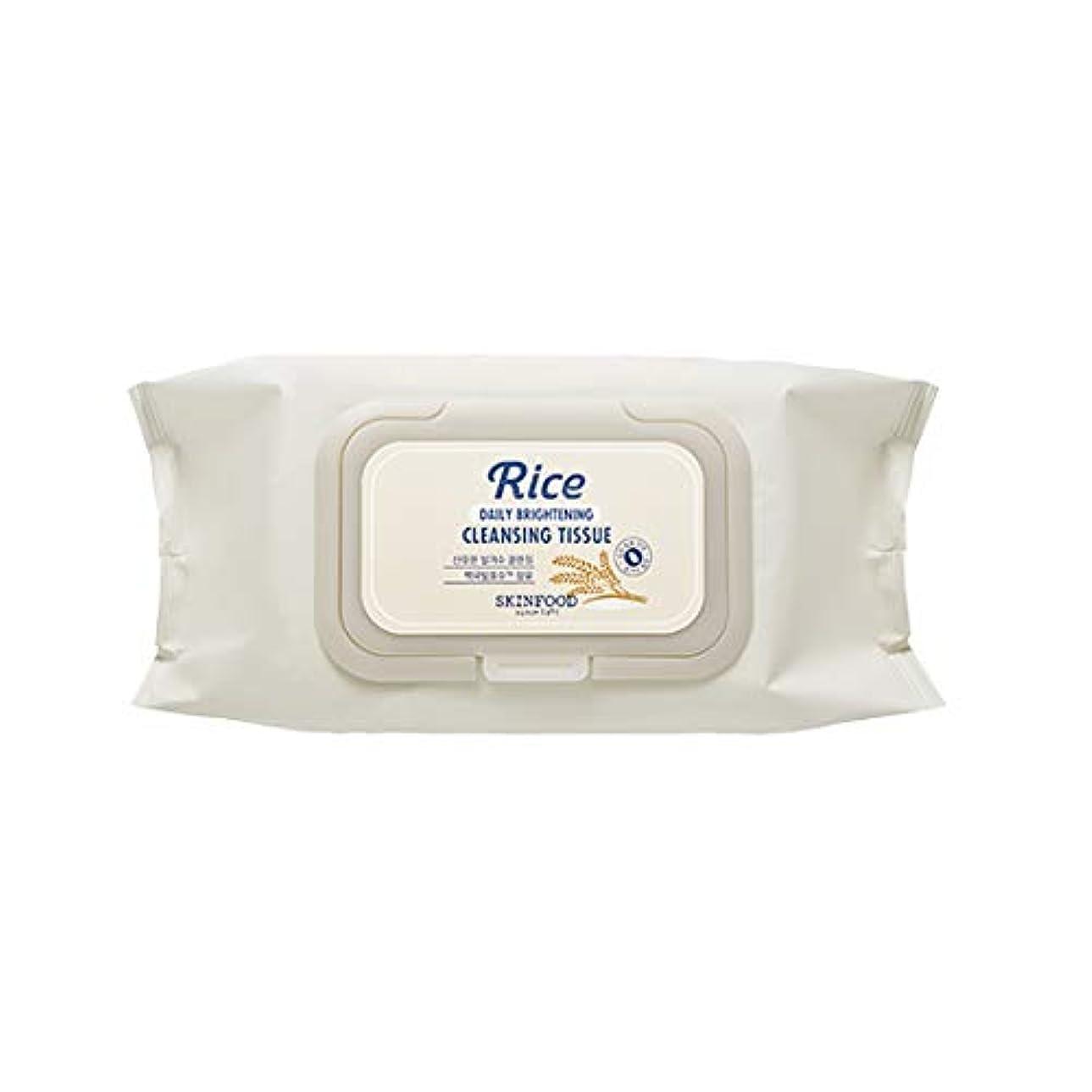 ブリリアント明らかに立方体Skinfood/Rice Daily Brightening Cleansing Tissue/ライスデイリーブライトニングクレンジングティッシュ/380ml [並行輸入品]