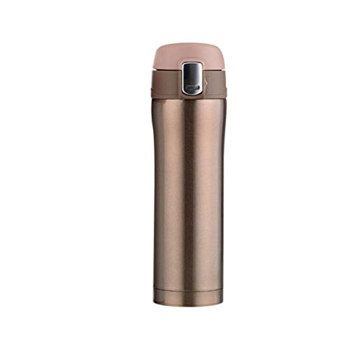 トラブル確立穀物Saikogoods 500MLコンパクトサイズのステンレス鋼真空断熱ウォーターボトルメンズ?レディース?オフィス旅行カー水マグボトルドリンク ゴールド