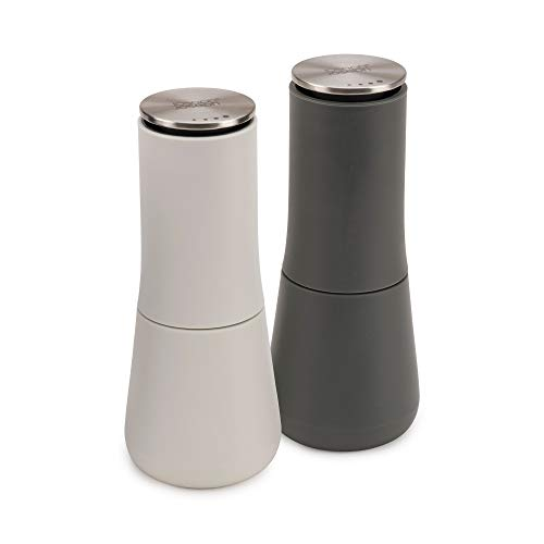Joseph Joseph Milltop - No-Spill Salt & Pepper Set Serve & Barware, Dark Grey/Light Grey, 95036