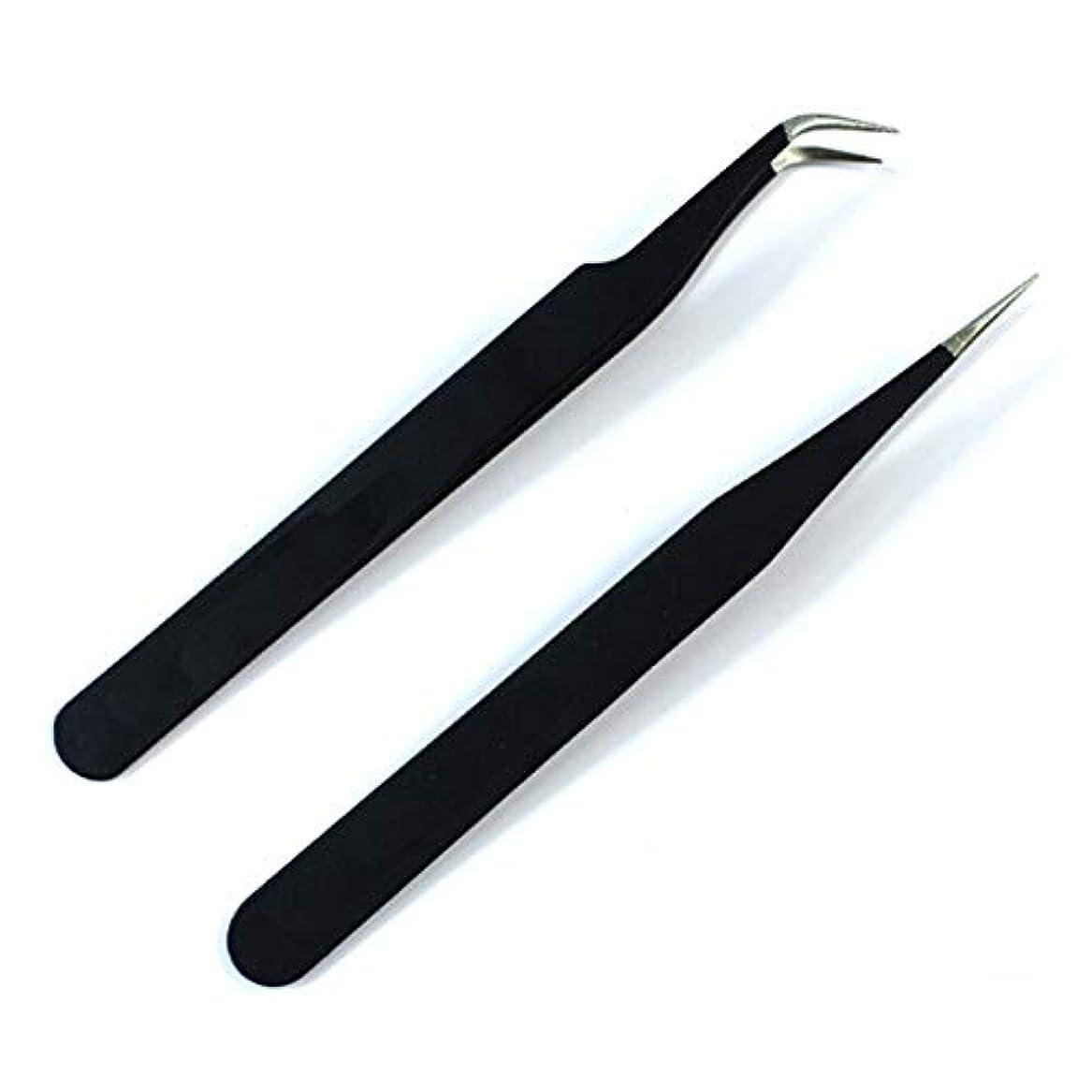 排出ダウン置換ネイルツールネイルピンセットネイル型ステンレス肘ストレートヘッドピンセット丈夫なネイルピンセット(ブラック)