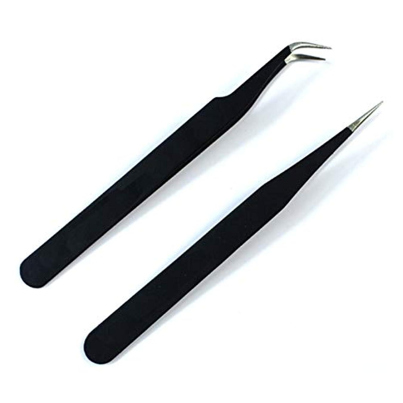重要性シュガーほのめかすネイルツールネイルピンセットネイル型ステンレス肘ストレートヘッドピンセット丈夫なネイルピンセット(ブラック)