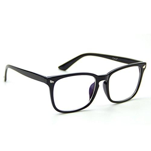 Cyxus(シクサズ)伊達メガネ [透明レンズ] ウェリントン レトロ 復古デザイン 一体型の鼻パッド 超軽量ノーズパッド ファッション クラッシク 黒縁眼鏡 原宿眼鏡 男女兼用(ブラック)