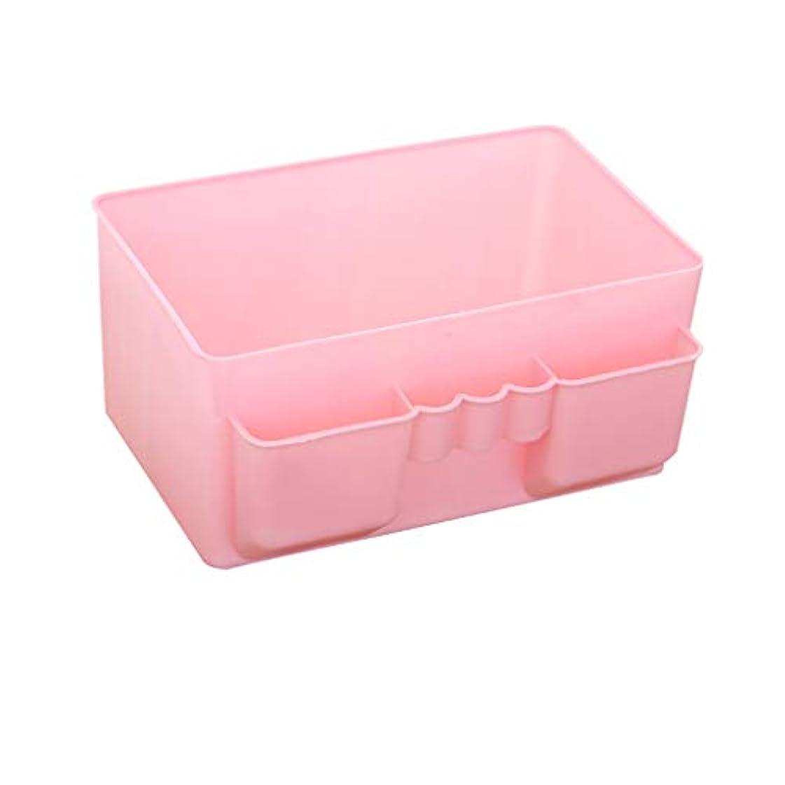 説教レッドデートランダムオフィス収納ラックプラスチック化粧品収納ボックスシンプルなデスクトップ口紅リモートコントロール仕上げボックス (Color : A)