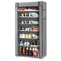 ZMAYA STAR 大容量 シューズ クローゼット 目隠しカーテン搭載 段差幅変更 軽量 靴 シューズ ブーツ (グレー)
