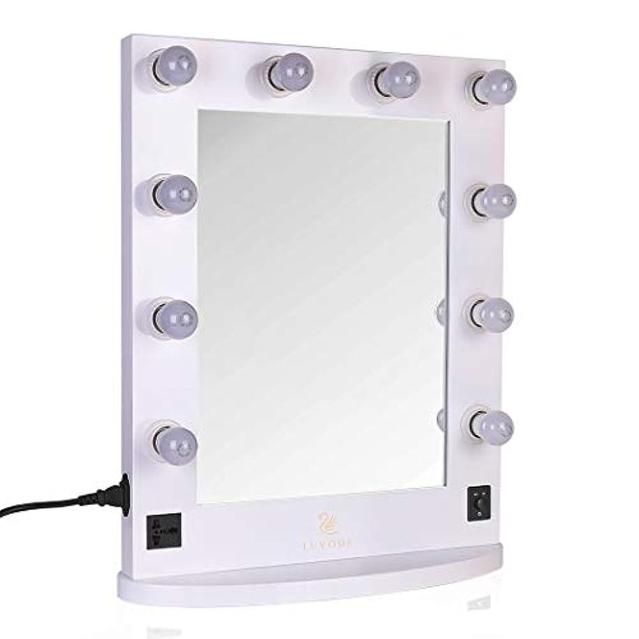 コウモリ森オンスLUVODI ハリウッドミラー 化粧鏡 化粧ミラー 女優ミラー led ライト付き 卓上鏡 スタンド 卓上/壁掛け 鏡 2Way 大型 木製 明るさ調節可能(白)
