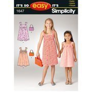 simplicity it s so easy pattern 1647 girls sleeveless dress and bag