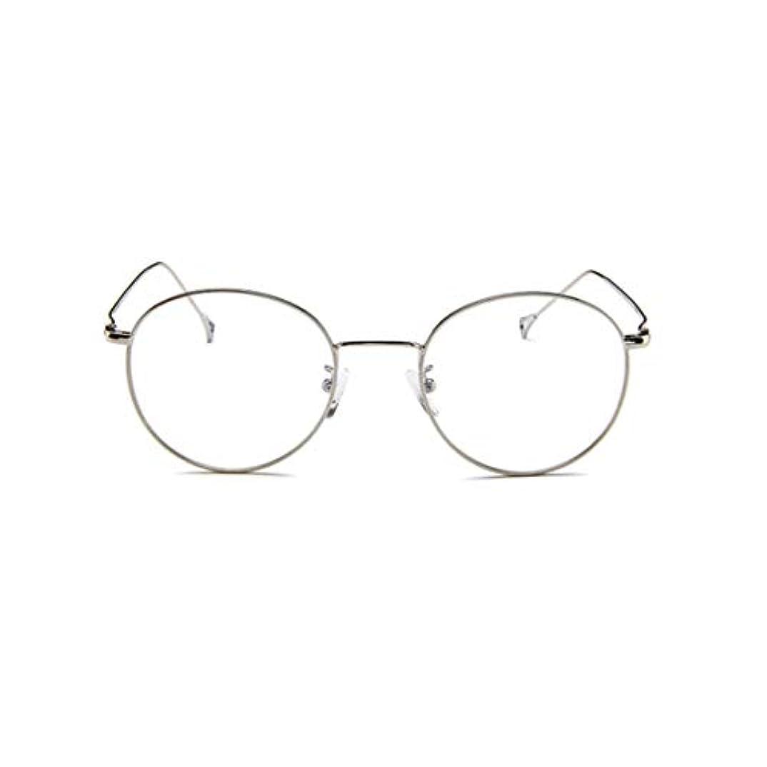 労苦出版賞韓国の眼鏡フレームの男性と女性のレトロフラットメガネメタルトレンディなメガネファッション近視眼鏡フレーム-スライバー-