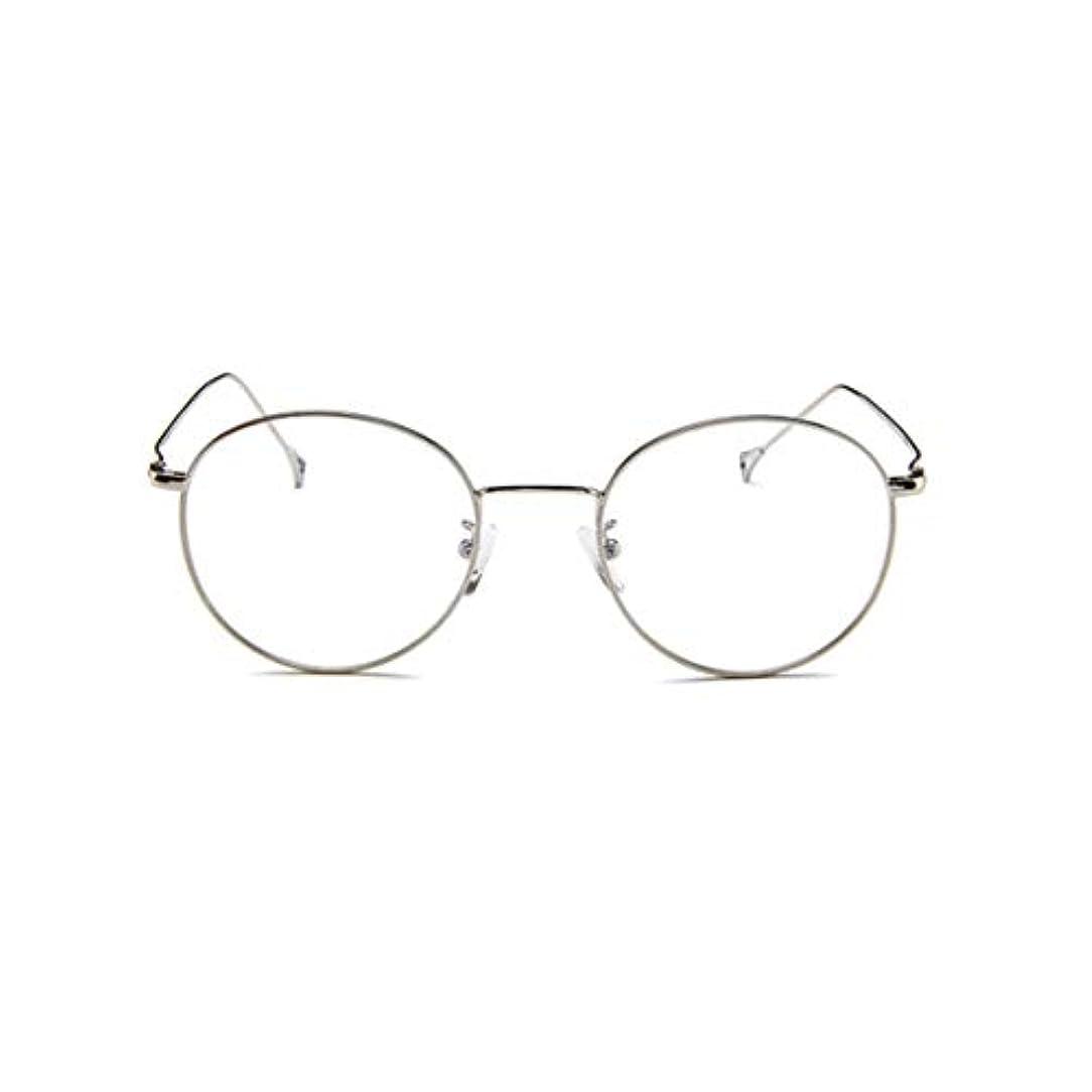 有効な劣る翻訳者韓国の眼鏡フレームの男性と女性のレトロフラットメガネメタルトレンディなメガネファッション近視眼鏡フレーム-スライバー-