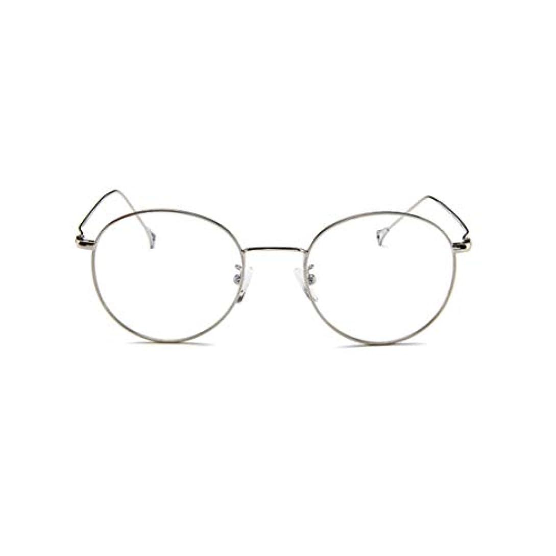 サスペンション欠如音韓国のメガネフレームの男性と女性のレトロフラットメガネメタルトレンディメガネファッション近視メガネフレーム-スライバー