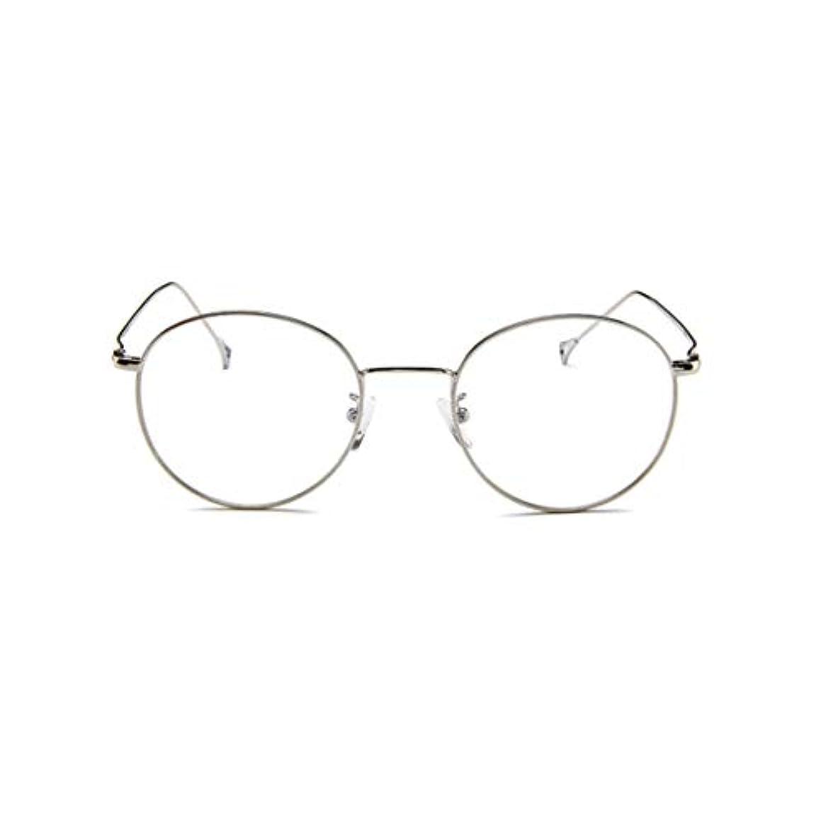 チャレンジイブウィンク韓国のメガネフレームの男性と女性のレトロフラットメガネメタルトレンディメガネファッション近視メガネフレーム-スライバー