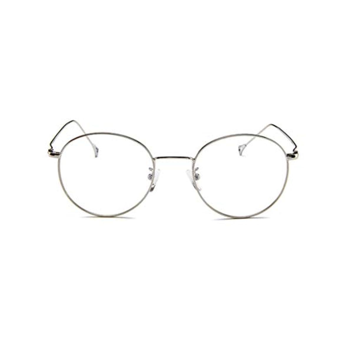 レコーダー文大声で韓国のメガネフレームの男性と女性のレトロフラットメガネメタルトレンディメガネファッション近視メガネフレーム-スライバー