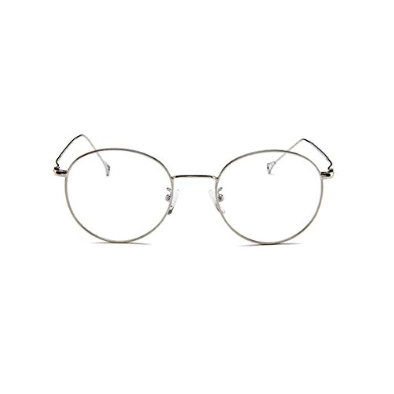 洋服昼食大学韓国のメガネフレームの男性と女性のレトロフラットメガネメタルトレンディメガネファッション近視メガネフレーム-スライバー