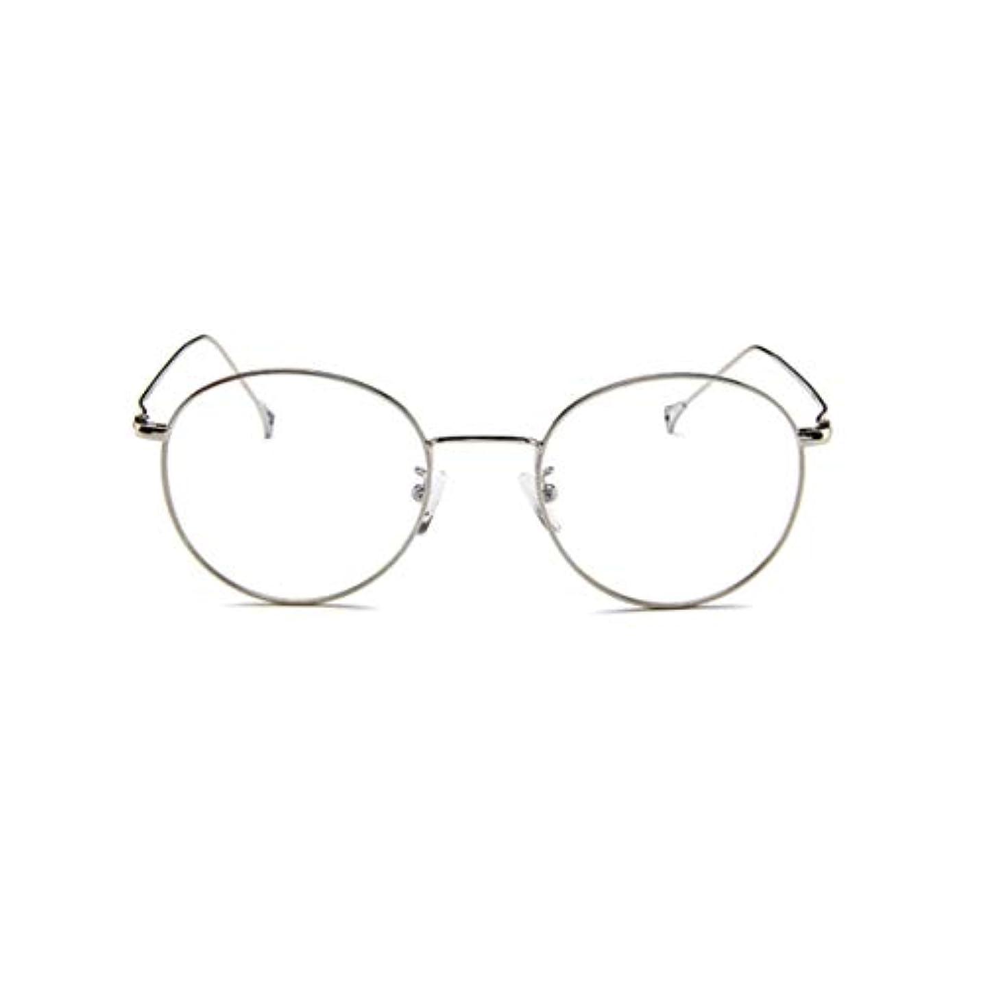 生き物ますます起きて韓国のメガネフレームの男性と女性のレトロフラットメガネメタルトレンディメガネファッション近視メガネフレーム-スライバー