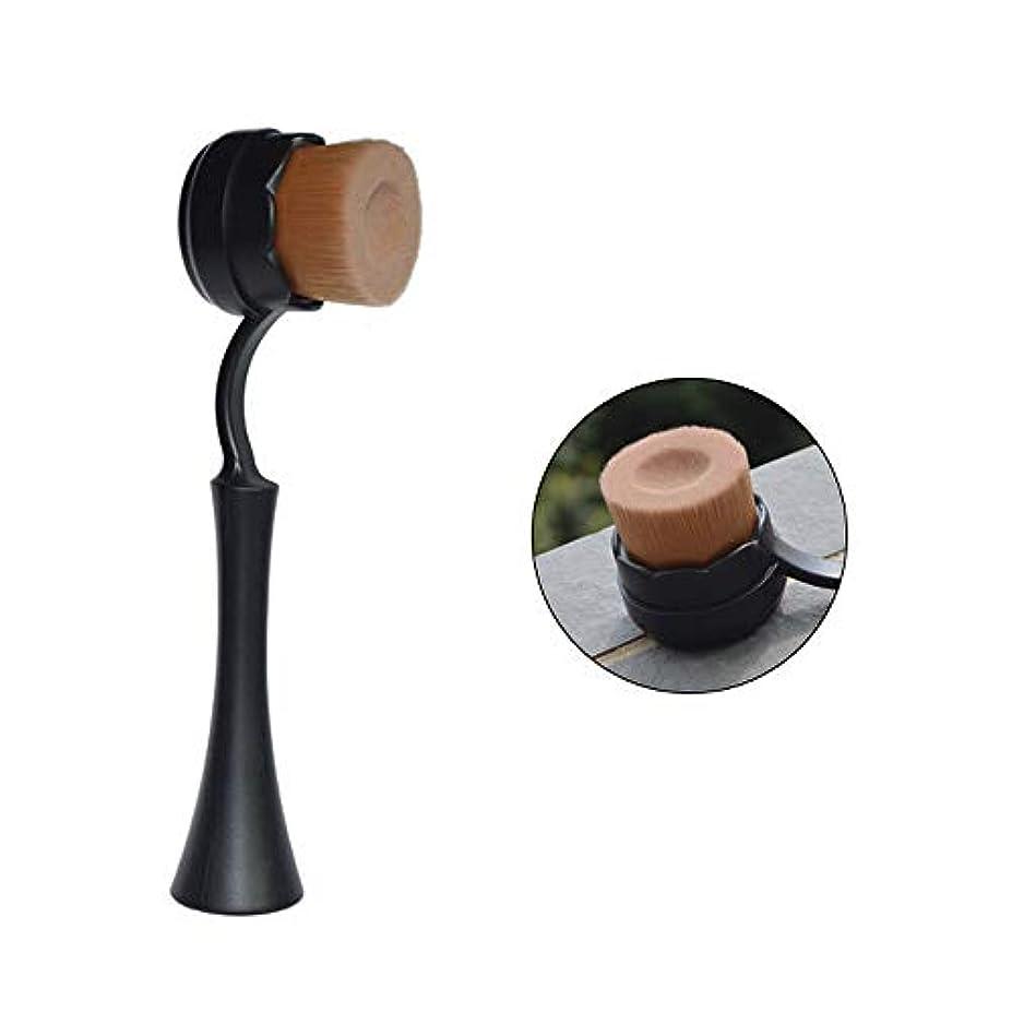 ボリューム不愉快粘り強いLYX カバー美容ツールを備えた単一メイクブラシ溝付き立ちメイクブラシ柔らかいブラシ携帯用メイクブラシBBブラシ (Color : Black)