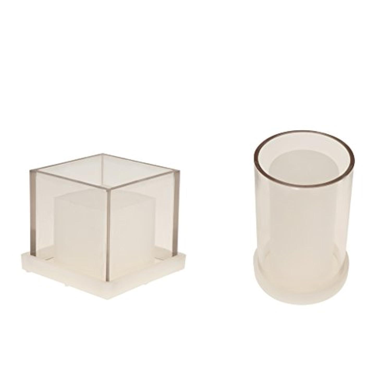 Perfk キャンドル金型 円筒形 正方形 中空 プラスチック 手工芸品 キャンドル作り 2個入り