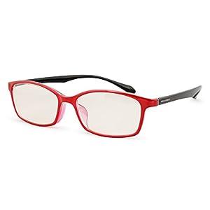 エッシェンバッハ 老眼鏡 ブルーライトカット 中近両用 +1.5 +0.5 度数 PCビュアー 弾性フレーム 日本製 レッドブラック 2993-1415