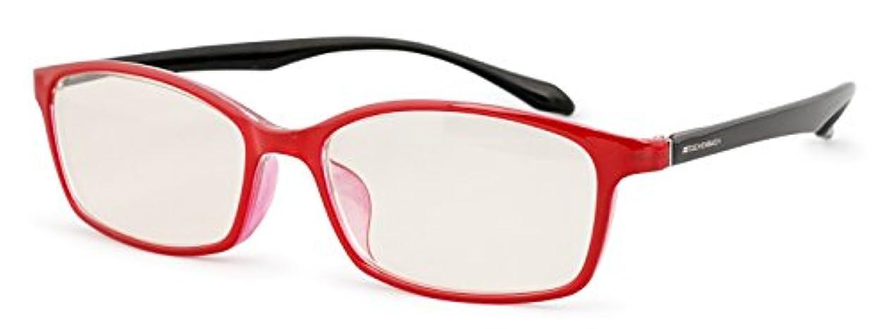 一流アクセルカウンターパートエッシェンバッハ 老眼鏡 ブルーライトカット 中近両用 +2.5 +1.5 度数 PCビュアー 弾性フレーム 日本製 レッドブラック 2993-1425