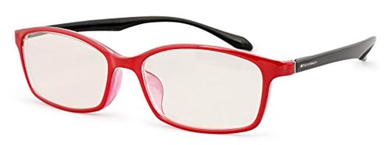 矢明るくする冷ややかなエッシェンバッハ 老眼鏡 ブルーライトカット 中近両用 +2.0 +1.0 度数 PCビュアー 弾性フレーム 日本製 レッドブラック 2993-1420